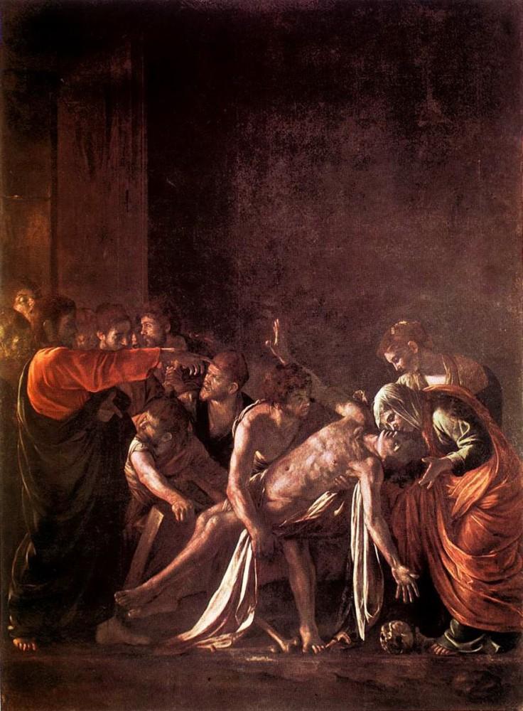 Caravaggio, Raising of Lazarus 1608.jpg